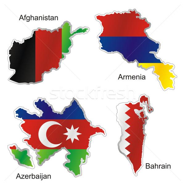изолированный азиатских флагами карта форма флаг Сток-фото © PilgrimArtworks