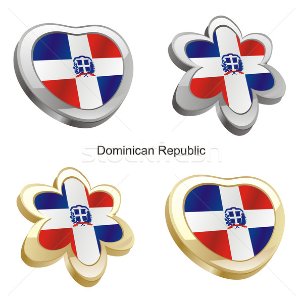 dominican republic flag in heart and flower shape Stock photo © PilgrimArtworks