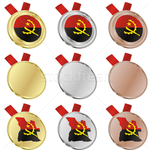 angola vector flag in medal shapes Stock photo © PilgrimArtworks