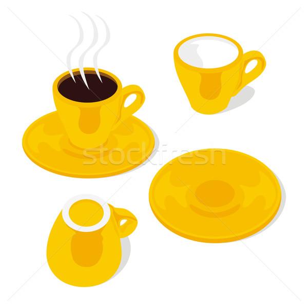 Eszpresszó csészék szerkeszthető kávé csésze citromsárga Stock fotó © PilgrimArtworks