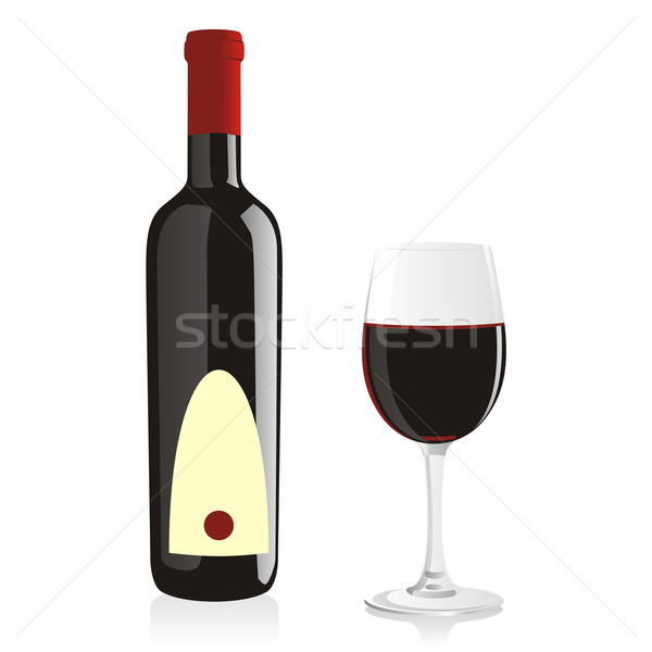 isolated wine bottle and glass Stock photo © PilgrimArtworks