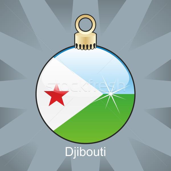 Odizolowany Dżibuti banderą christmas żarówki Zdjęcia stock © PilgrimArtworks