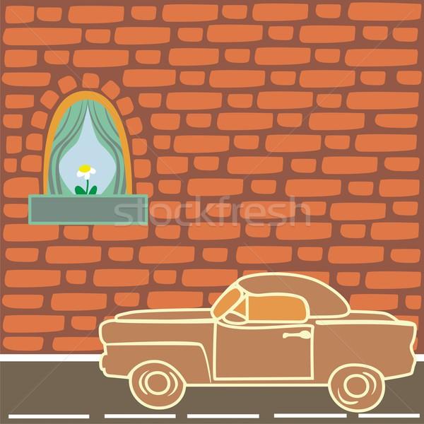 Mur de briques voiture mur lune arbres Photo stock © PilgrimArtworks