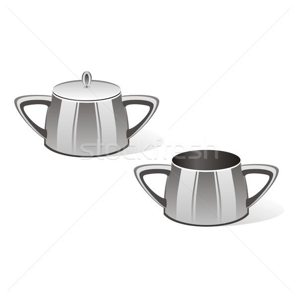 Cukor tál szerkeszthető izolált tej tea Stock fotó © PilgrimArtworks