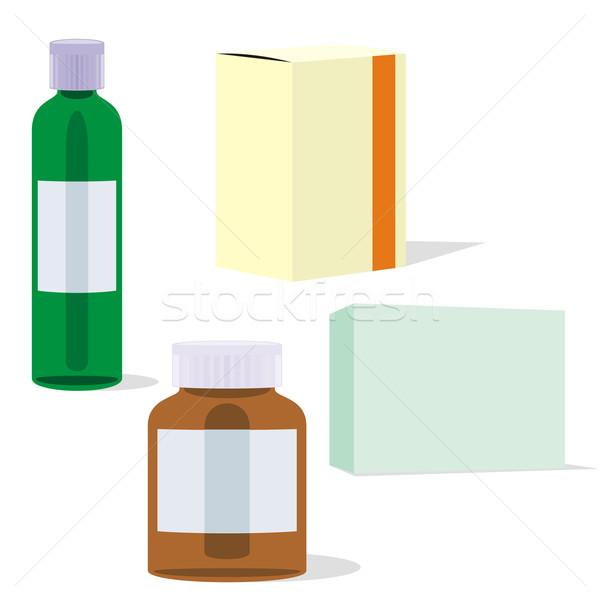 Izolált üvegek dobozok szerkeszthető gyógyszer üveg Stock fotó © PilgrimArtworks