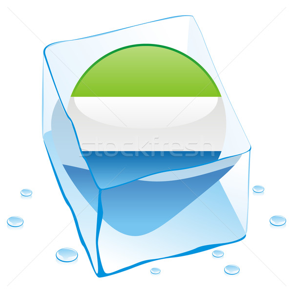 sierra leone button flag frozen in ice cube Stock photo © PilgrimArtworks