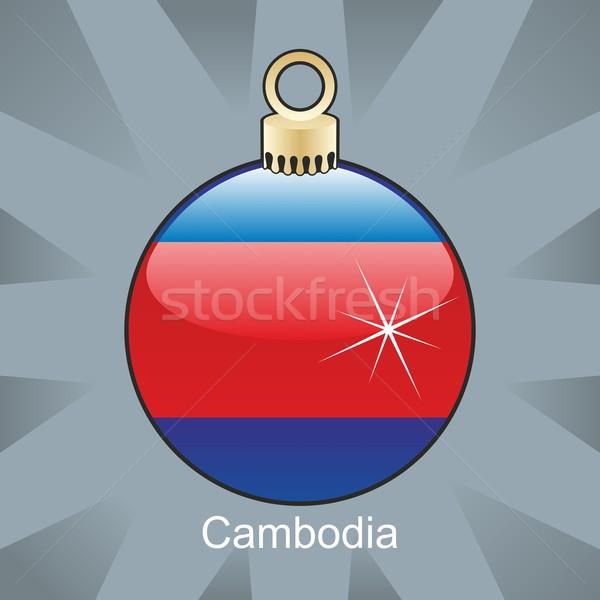 Camboya bandera Navidad bombilla forma Foto stock © PilgrimArtworks