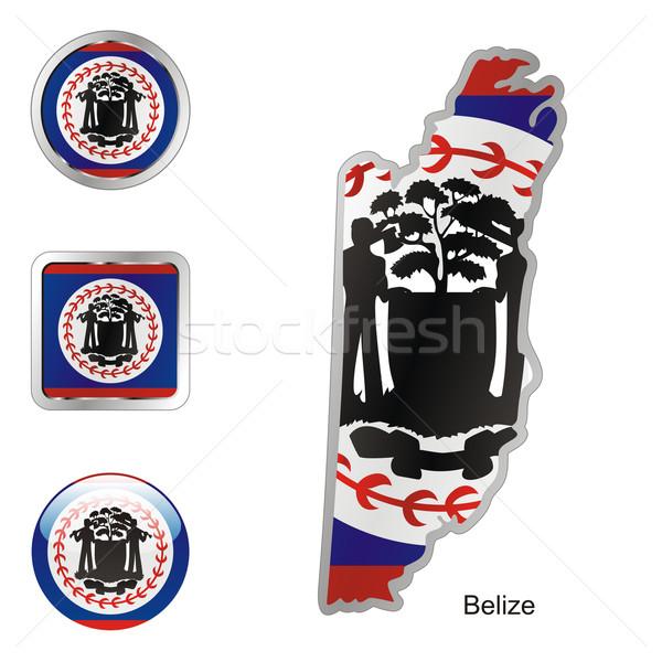 Zászló Belize térkép háló gombok formák Stock fotó © PilgrimArtworks