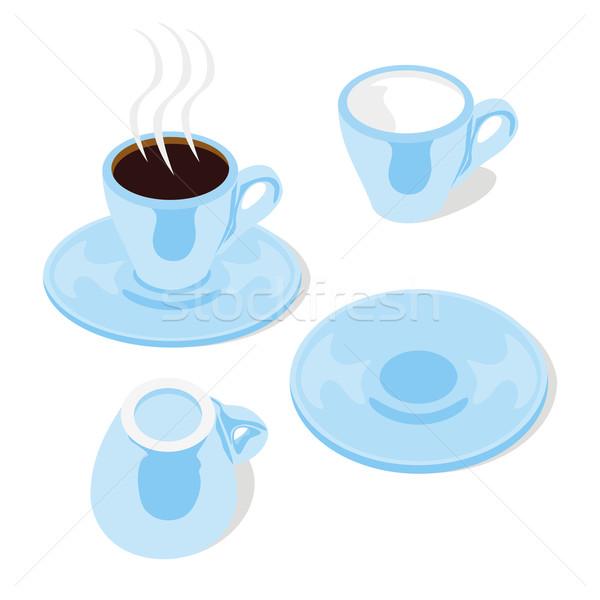 Kék eszpresszó csészék szerkeszthető izolált Stock fotó © PilgrimArtworks