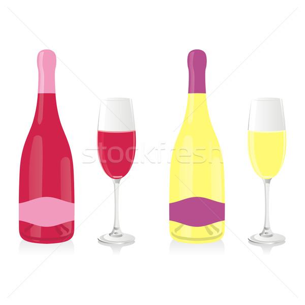isolated champagne bottles and glasses Stock photo © PilgrimArtworks