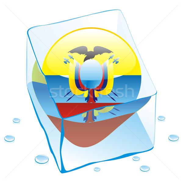 ecuador button flag frozen in ice cube Stock photo © PilgrimArtworks