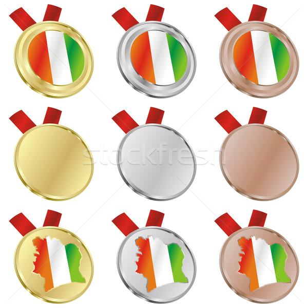 Wybrzeże Kości Słoniowej wektora banderą medal Zdjęcia stock © PilgrimArtworks