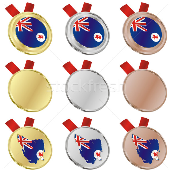 Tasmania vector bandera medalla formas Foto stock © PilgrimArtworks
