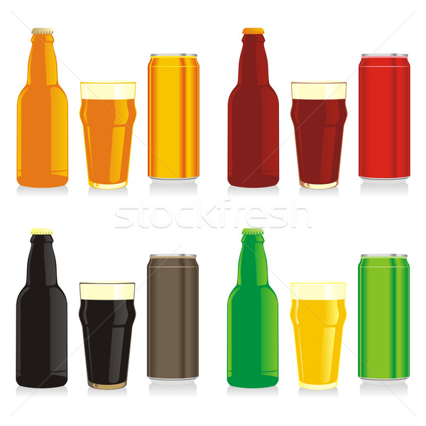Stockfoto: Geïsoleerd · verschillend · bier · flessen · bril