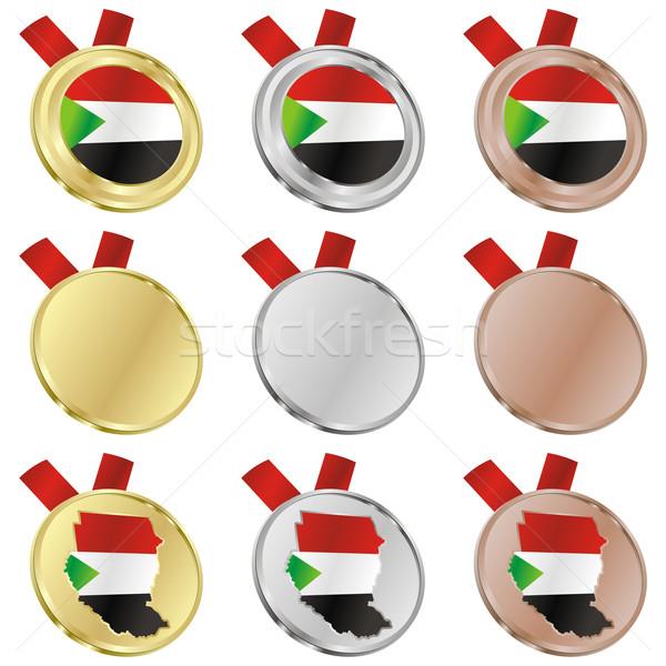 Szudán vektor zászló érem formák szerkeszthető Stock fotó © PilgrimArtworks