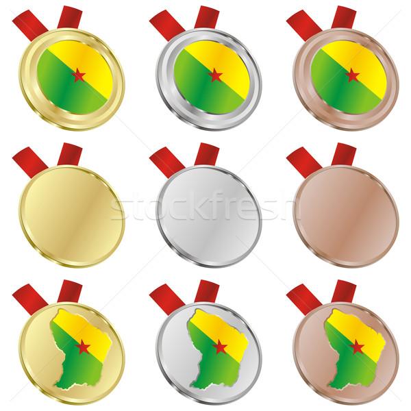 Foto stock: Francés · Guayana · vector · bandera · medalla · formas