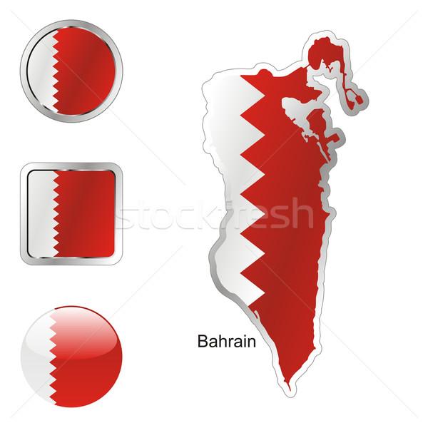 флаг Бахрейн карта Интернет Кнопки форма Сток-фото © PilgrimArtworks