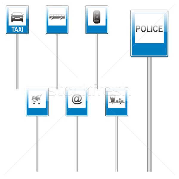 Stock fotó: Izolált · európai · jelzőtáblák · szerkeszthető · utca · kereszt