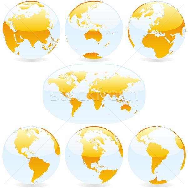 Stockfoto: Wereldkaart · globes · vector · gekleurd · aarde