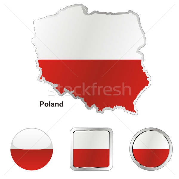 Polen kaart web knoppen Stockfoto © PilgrimArtworks