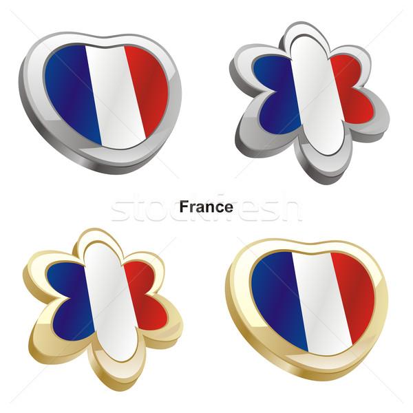 Франция флаг сердце цветок форма Сток-фото © PilgrimArtworks