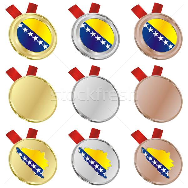 ボスニアヘルツェゴビナ ベクトル フラグ 金メダル ストックフォト © PilgrimArtworks