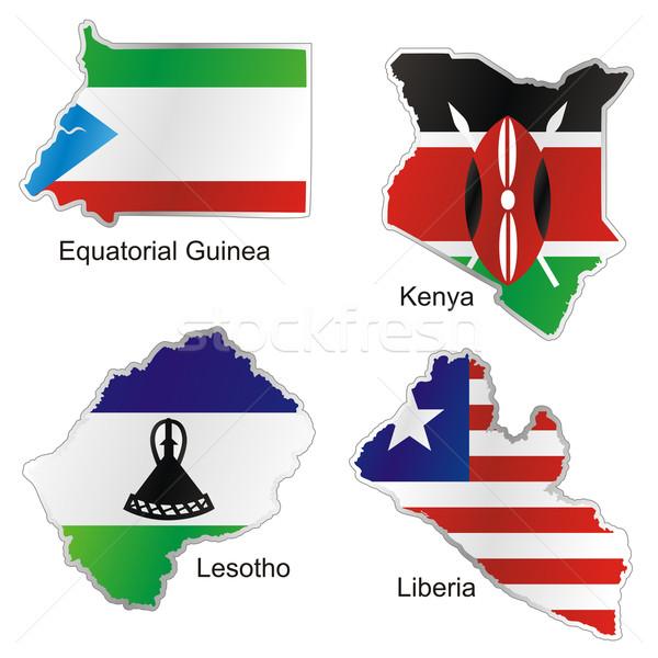 Izolált afrikai zászlók térkép forma Stock fotó © PilgrimArtworks