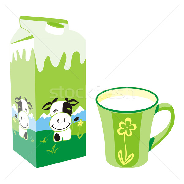isolated milk carton box and mug Stock photo © PilgrimArtworks