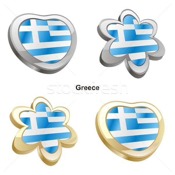 Grèce pavillon coeur fleur forme Photo stock © PilgrimArtworks