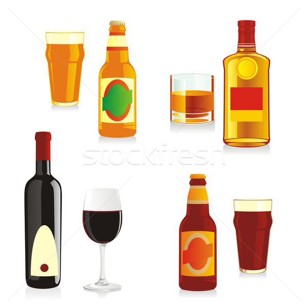 isolated alcohol bottles and glasses Stock photo © PilgrimArtworks