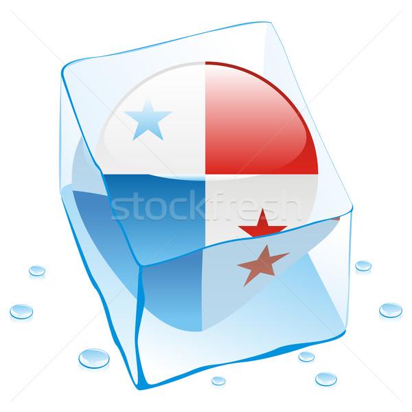 Panama gomb zászló fagyott jégkocka szerkeszthető Stock fotó © PilgrimArtworks