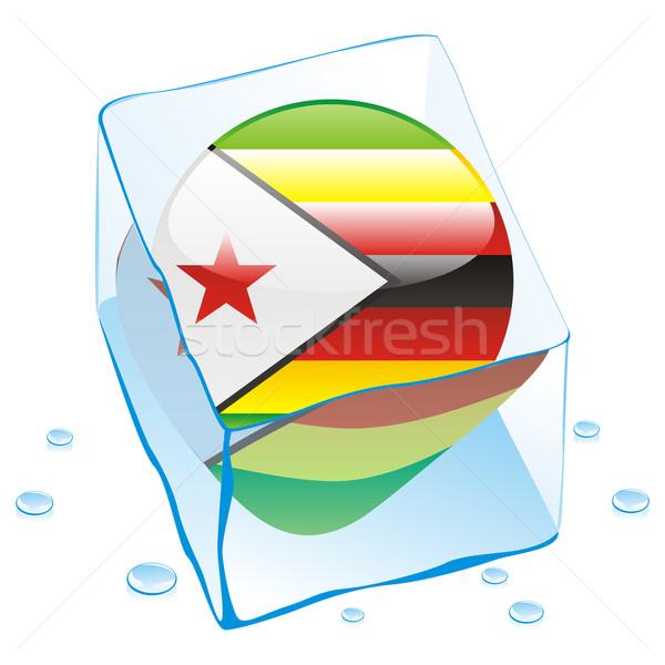 Зимбабве кнопки флаг заморожены Ice Cube Сток-фото © PilgrimArtworks