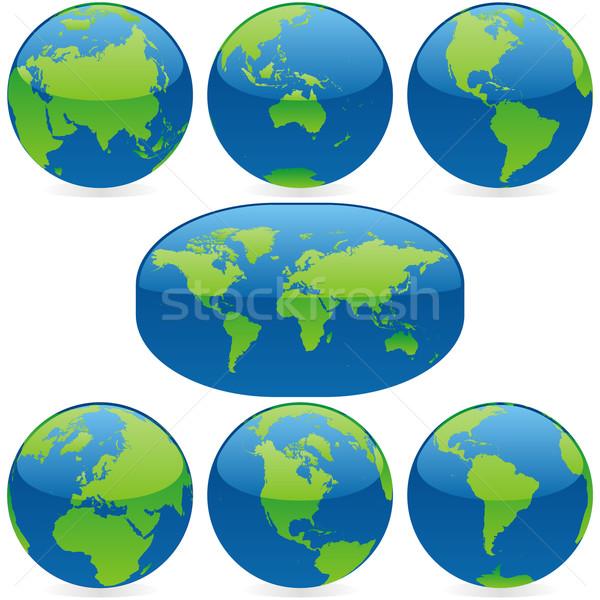 Stockfoto: Vector · gekleurd · wereldkaart · globes · geïsoleerd