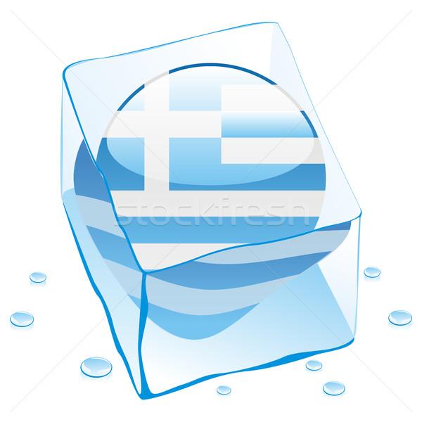 Grecia botón bandera congelado cubo de hielo Foto stock © PilgrimArtworks