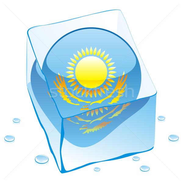 Kazahsztán gomb zászló fagyott jégkocka szerkeszthető Stock fotó © PilgrimArtworks