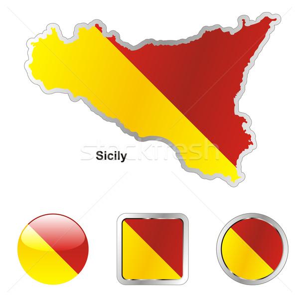 シチリア島 地図 ウェブ ボタン ストックフォト © PilgrimArtworks