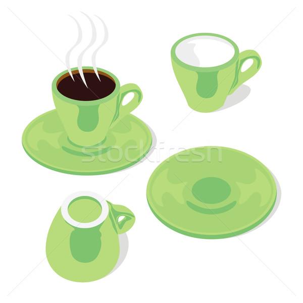 Eszpresszó csészék szerkeszthető izolált kávé zöld Stock fotó © PilgrimArtworks