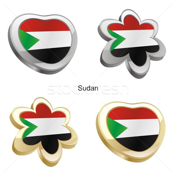 Szudán zászló szív virág forma szerkeszthető Stock fotó © PilgrimArtworks
