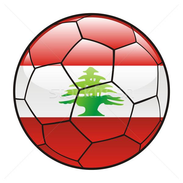 Lübnan bayrak futbol topu futbol spor futbol Stok fotoğraf © PilgrimArtworks