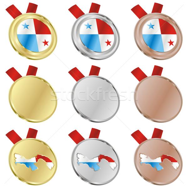 パナマ ベクトル フラグ 金メダル ストックフォト © PilgrimArtworks