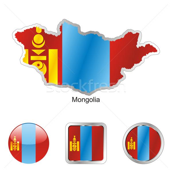 Сток-фото: Монголия · карта · Интернет · Кнопки · форма · флаг