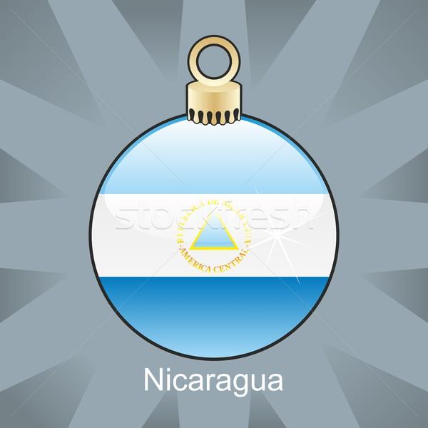 Geïsoleerd Nicaragua vlag christmas lamp vorm Stockfoto © PilgrimArtworks