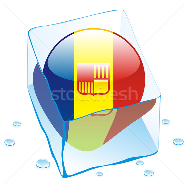 vector illustration of andorra button flag frozen in ice cube Stock photo © PilgrimArtworks