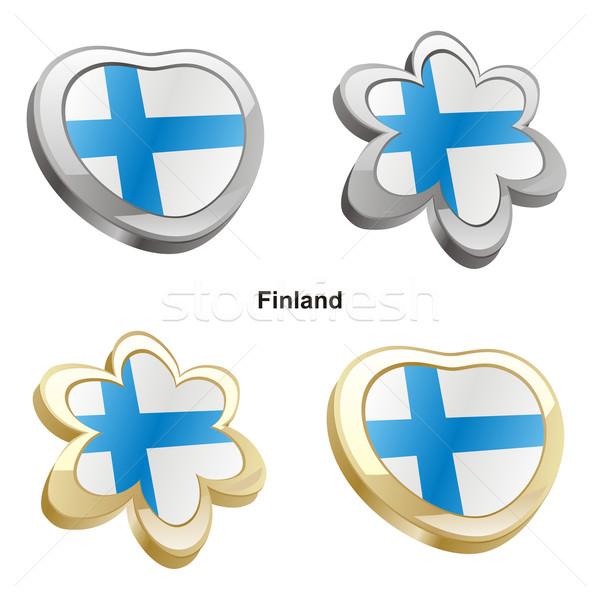 Finlandia bandera corazón flor forma Foto stock © PilgrimArtworks