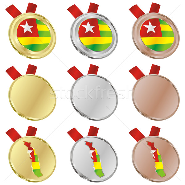 Togo vettore bandiera medaglia forme Foto d'archivio © PilgrimArtworks