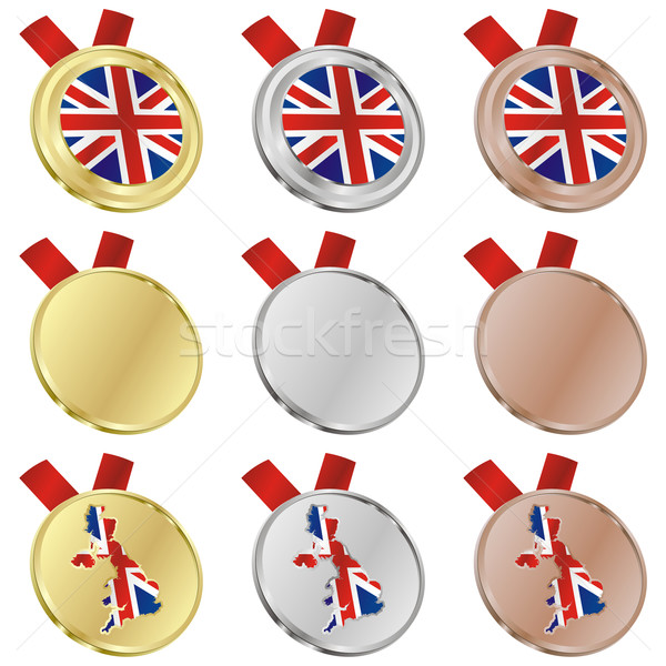 Groot-brittannië vector vlag medaille Stockfoto © PilgrimArtworks