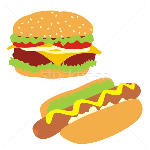 isolated hamburger and hot-dog Stock photo © PilgrimArtworks