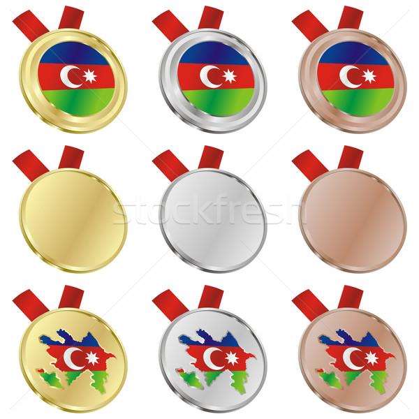 Foto stock: Azerbaiyán · vector · bandera · medalla · formas