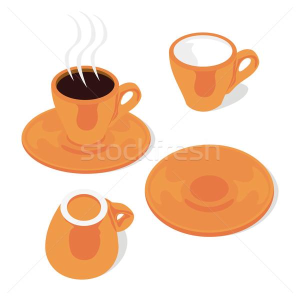 Eszpresszó csészék szerkeszthető kávé csésze Stock fotó © PilgrimArtworks