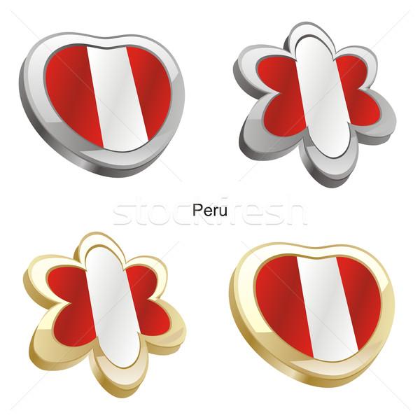 Perú bandera corazón flor forma Foto stock © PilgrimArtworks
